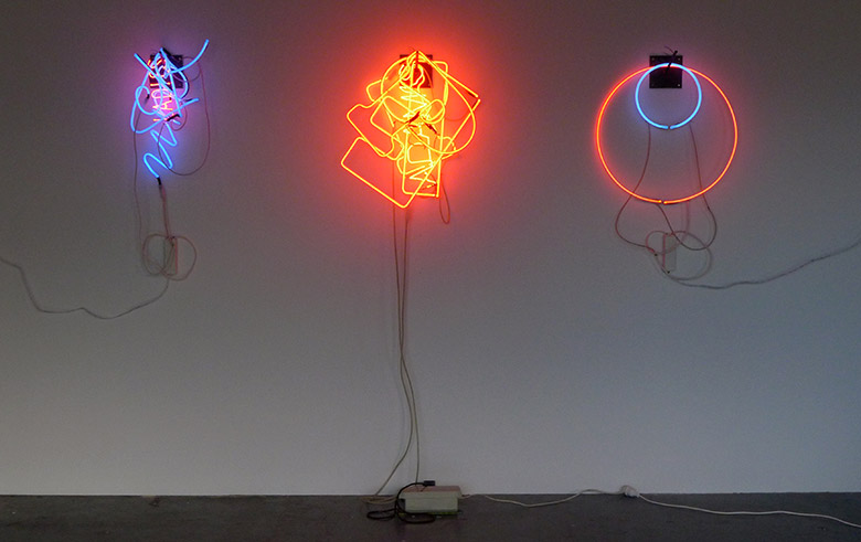 Brendan Van Hek. Colour Composition #2, 2013. Dimensions variable, neon, metal hooks. Courtesy the artist and Anna Schwartz Gallery, Sydney.
