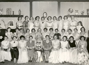 Residents of 130 Victoria Street ready for the Ballarat Teachers' College Ball. Lecturer Mavis Canty is in the front 5th from the left