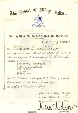 William Figgis' Certificate of Competency as an Assayer