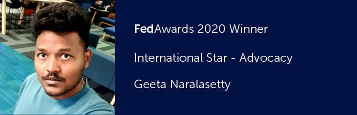 FedAwards 2020 Winner. International Star - Advocacy. Geeta Naralasetty