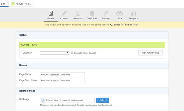 Asset Details screen example