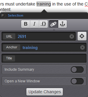 training highlighted in paragraph with URL containing asset ID and anchor name of training