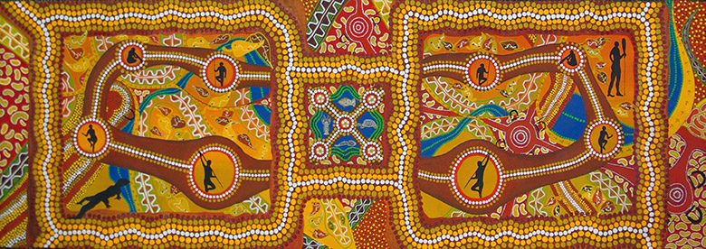 Raymond Cape York Hunting Grounds: My Journeys, 2014 acrylic on canvas 58 x 183cm Courtesy the artist