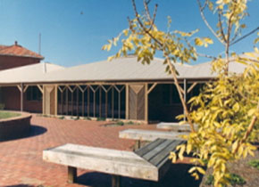 This image is showing the outside entrance to the E.J.T Tippett Library SMB