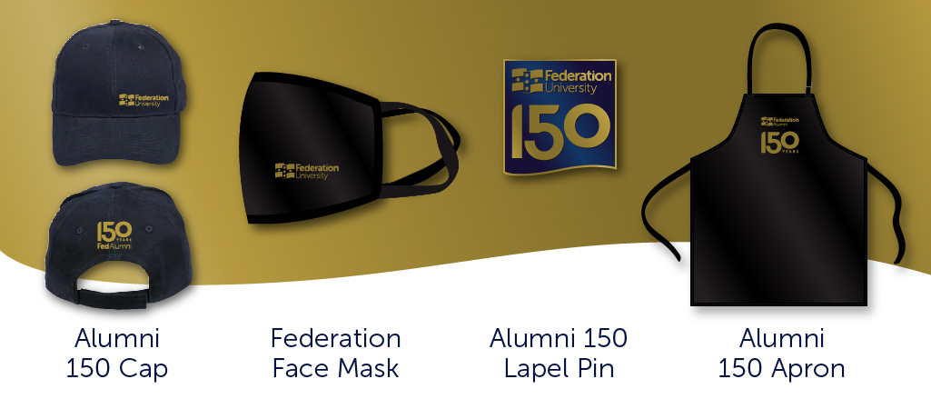 Alumni and Federation memorabilia includes a cap, face mask, lapel pin, apron.
