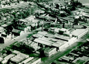 Aerial view of SMB, c1965 showing the old Gaol site in Lydiard Street South