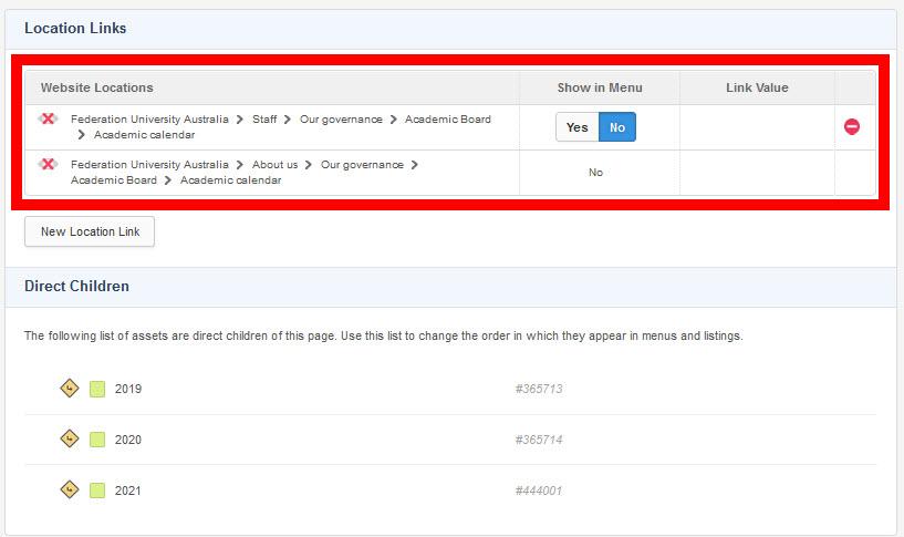 Asset linking screen example