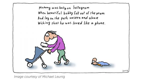 A Leunig cartoon which shows a mother pushing an empty pram and reading her phone, while a baby lies on the ground behind.