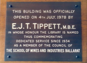 Plaque showing the opening of E.J.T Tippett Library