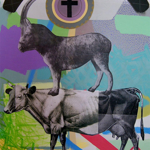 Honours student Kelly Brett's collage and acrylic on board, 'Donkey Democracy' 2012