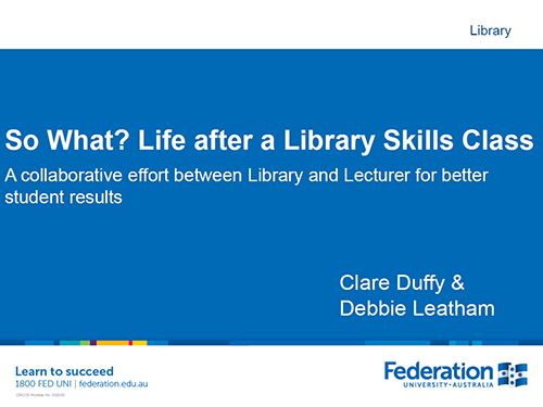 So what? Life after a Library skills class