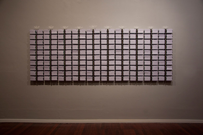 Rebecca Baumann, Automated Monochrome (White on White), 2012 100 flip-clocks, PVC, batteries 129 x 359 x 9cm Duration: 24 hours Edition 1 of 3 (+1AP) Courtesy the artist