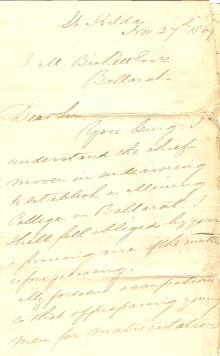 Letter to James Bickett, 1869 (Cat. No. 500.8)