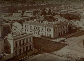 The former Ballarat Post Office is situated in the centre of this photograph. The tower, which was built in 1885, is not evident.