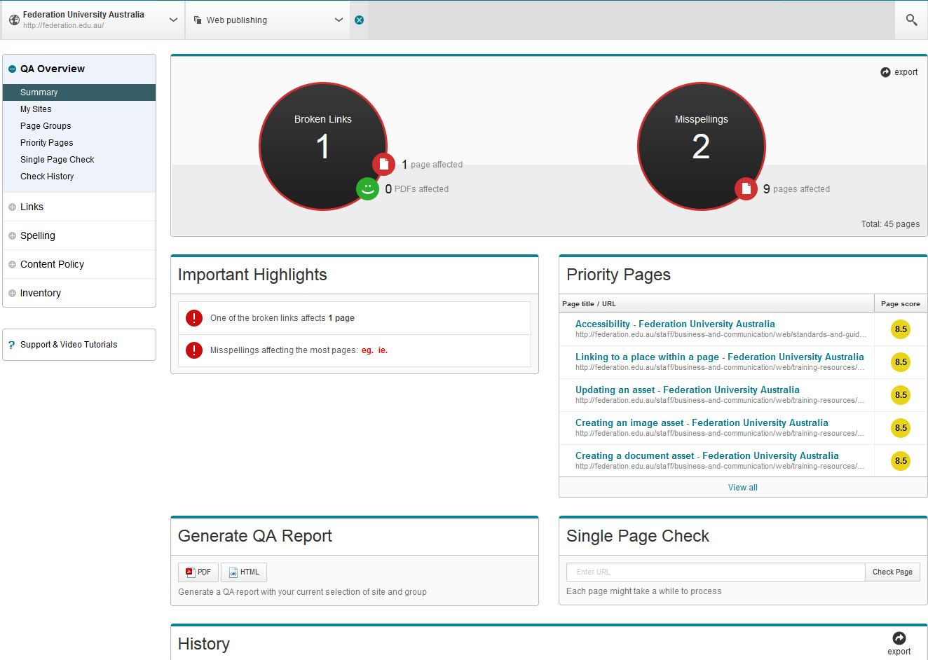 Siteimprove larger homepage screenshot