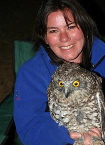 Fiona with a Powerful Owl