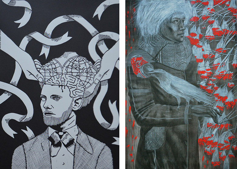 Image left: Areka Brown, The man with the world in his head, 2014, linoprint, 56 x 38cm. Image right: Marianne Sebetti, Wild Ash, 2014, charcoal & pastel on paper, 90 x 60cm