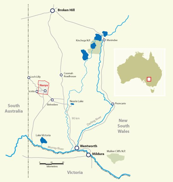 Nanya location map - approximately 120km north-west of Mildura