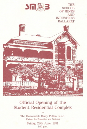 Programme from the opening of the student Accommodation Complex, 1991
