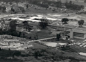 Mt Helen Campus, c1975. Tree of knowledge in centre of photo