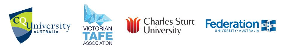 CQ University Australia, Victorian TAFE Association, Charles Sturt Univeristy, Federation University Australia