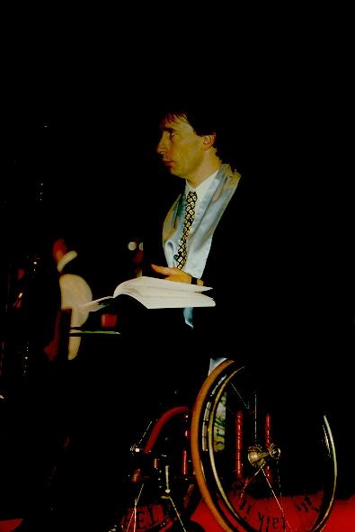 Sandy Blythe, guest speaker at the University of Ballarat Graduation Ceremony, 25 April 1997. (Cat.No.6686