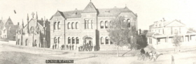 Ballarat School of Mines, showing former Circuit Court on right hand side, c1905